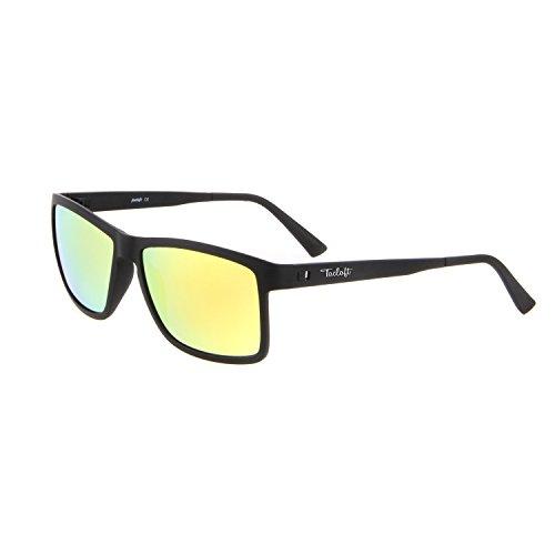 Tacloft Wayfarer 57mm HD Polarized Sunglasses TR004(Black Frame/Revo Gold - Frame Wayfarer Gold Sunglasses