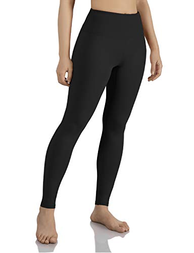 ODODOS Women's Mid Waisted Tummy Control Yoga Pants,Full-Length Leggings with Inner Pockets,Black,Large