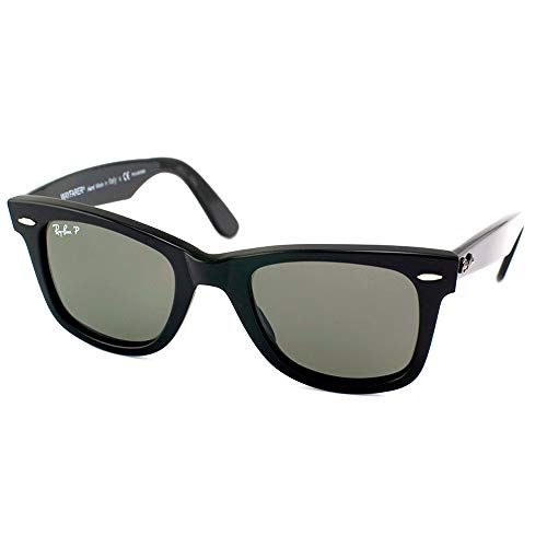 Ray-Ban RB2140 Original Wayfarer Sunglasses, Black/Polarized Green, 50 mm (Ray Ban Wayfarer Green)