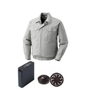 空調服 綿薄手ワーク空調服 大容量バッテリーセット ファンカラー:ブラック 0550B22C06S4 【カラー:シルバー サイズ:2L 】  B07PKSV7B9