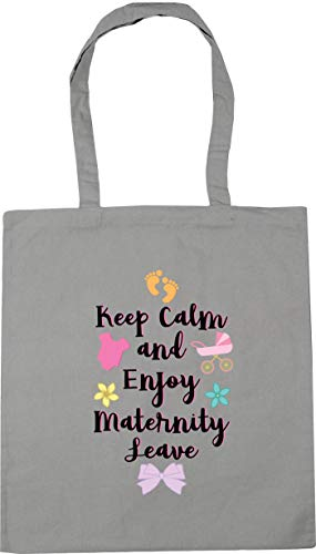 HippoWarehouse Keep Calm and Enjoy Maternity Leave pinkTote Shopping Gym Beach Bag 42cm x38cm, 10 litres Light Grey