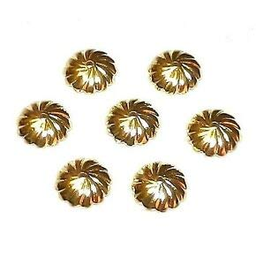 (Steven_store M539f Gold 10mm Scalloped Round Fluted Swirl Design Brass Bead Caps 20pc Making Beading Beaded Necklaces Yoga Bracelets)