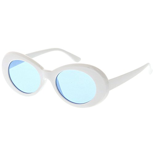 sunglassLA - Retro Oval Sunglasses With Tapered Arms Color Tinted Round Lens 51mm (White / - Acne White Sunglasses