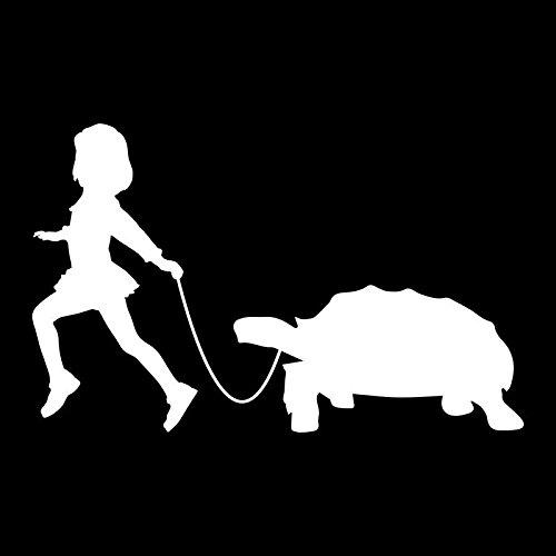 Girl Leading A Turtle Vinyl Decal Sticker | Cars Trucks Vans SUVs Laptops Walls Windows Cups | White | 7 X 4.4 | KCD2150 ()