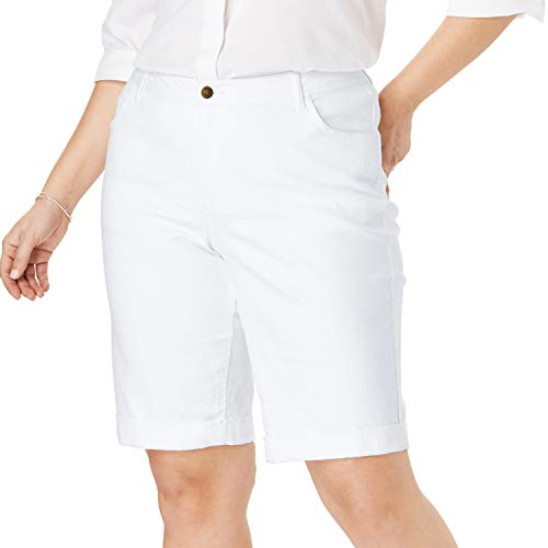 Woman Within Women's Plus Size Stretch Jean Bermuda Short - White, 20 W