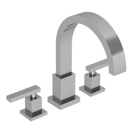 Newport Brass 3-2046 Double Handle Deck Mounted Roman Tub Filler with Tub Spout, Polished Nickel ()