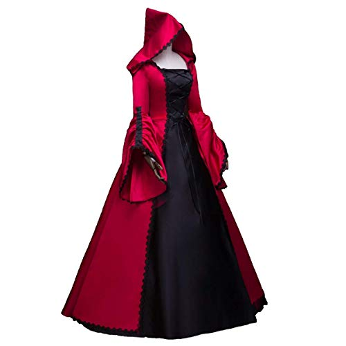CountryWomen Renaissance Gothic Dark Queen Dress Ball Gown Steampunk Vampire Halloween Costume (Made-to-Order:Measurements(Bust,Waist,Hips,Height), Black and Red) -