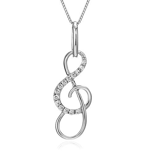 (Vir Jewels 1/10 cttw Diamond Musical Pendant 10K White Gold with 18 Inch Chain)