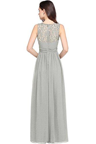 Dress Fit Long Slim Lace Silver Sleeveless Bridesmaid Babyonlinedress Chiffon HAwggx
