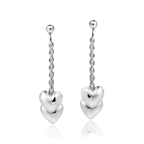 Two Hearts as One .925 Sterling Silver Post Drop Dangle Earrings - Heart Sterling Silver Post Earrings