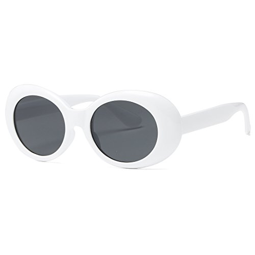 Kimorn Clout Goggles Sunglasses Women Kurt Cobain Oval Frame Sun Glasses K0567 - Glasses Black Frames White