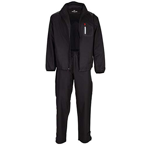 Founders Club Golf Mens Rain Suit Waterproof Jacket and Waterproof Pants (Large) Black