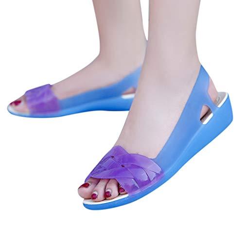 Women Summer Casual Jelly Shoes Slingback Sandals Low Heel Wedge Sandals Waterproof Rain Sandals by Lowprofile Navy