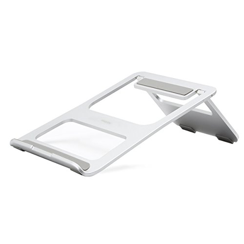 Mosiso Foldable Laptop Stand, Portable Aluminum Alloy Desk Cooling Stand Holder with Adjustable Bracket for iPad Pro/MacBook Air/MacBook Pro/Surface Pro and Other Laptop Notebook, Silver