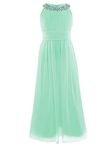 Freebily Girls Chiffon Sleeveless Dresses Long Maxi Ball Gown Pageant Junior Flower Girl Party Dress Mint Green 14 ()