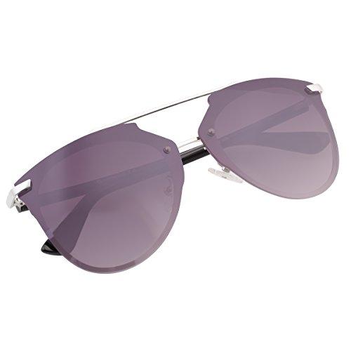 Mirrored Rimless Sunglasses Double Bridge Pantos Shape Aviator Shades 87049A - Pantos Sunglasses