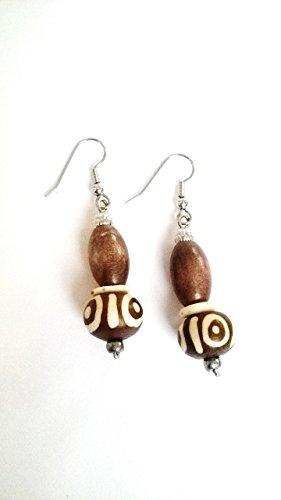 Batik Bone and Brown Wood Bead Earrings