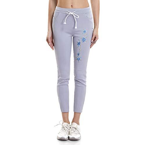 Pantaloncini cotone in con aderenti puro coulisse aderenti ricamo Csndion Grey stretti e HZqwdHR