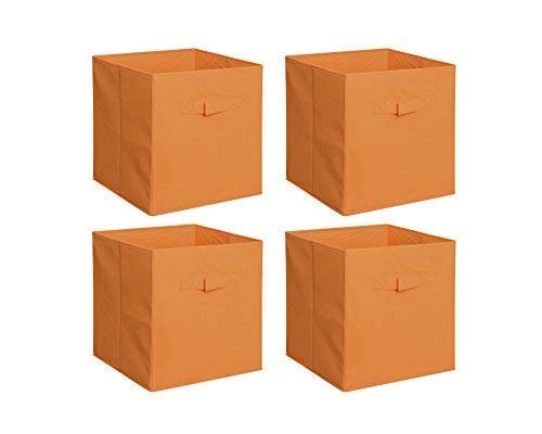 New Home Storage Bins Organizer Fabric Cube Boxes Shelf Basket Drawer Container Unit (4, Orange)