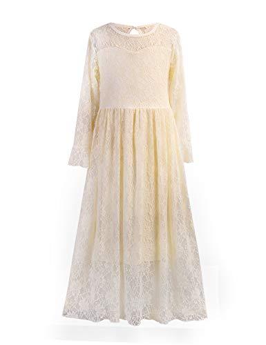 trudge Maxi-jurk meisjes kant festive bruiloft prinses lange mouwen jurken kinderen herfst winter wit beige zwart maat…