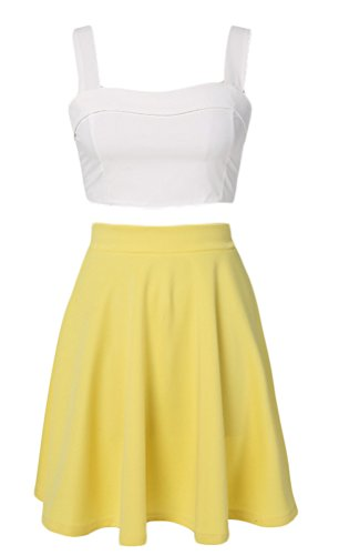 OURS Women's Sexy 2pcs Dress Back Zipper Tops and High Waist Pleated Skirts (M, Yellow)