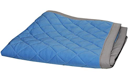 Fuzzies Quilted Thermal Baby Blanket for Boys | Doubled-Sided, Blue and Gray | Buttery Soft, Breathable Cotton Infant/Toddler Quilt Throw Blanket | Warm, Peaceful Sleeping in Crib – 36 x 36