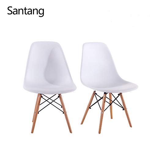 (Santang Kids Chairs with Modern Style Easy Assemble and Cleaning Comfortable Dining Chairs Set of 2 White Safer Chair Height)