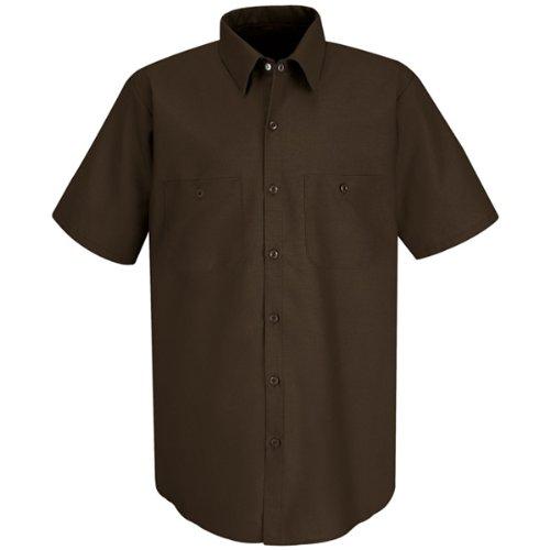 Red Kap Men's Industrial Short-Sleeve Work Shirt,Chocolate Brown, 4X-Large