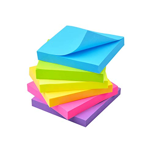 Sticky Notes 6 Bright Color 6 Pads Self-Stick Notes 3 in x 3 in, 100 Sheets/Pad