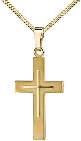 Kreuz-Anhänger-Kreuz in Kreuz teilmattiert mit Kette für Damen, Herren und Kinder als Ketten-Anhänger 585 Gold, 333 Gold oder 925 Silber zur Auswahl mit Panzer-Kette und Schmuck-Etui