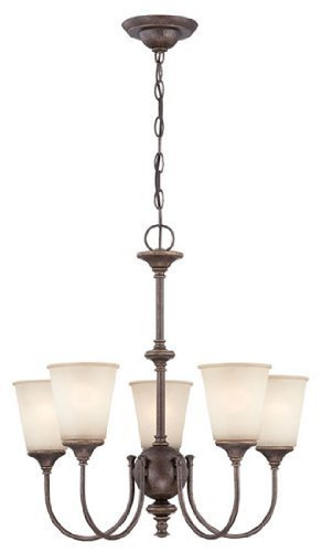 Lite Source LS-19898 Chandelier with Amber Glass Shades, Gold Finish by Lite Source (Chandeliers Finish Amber)