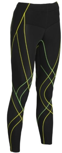 CW-X Endurance Generator Tights - Women's Black / Green / Yellow Small by CW-X (Image #1)