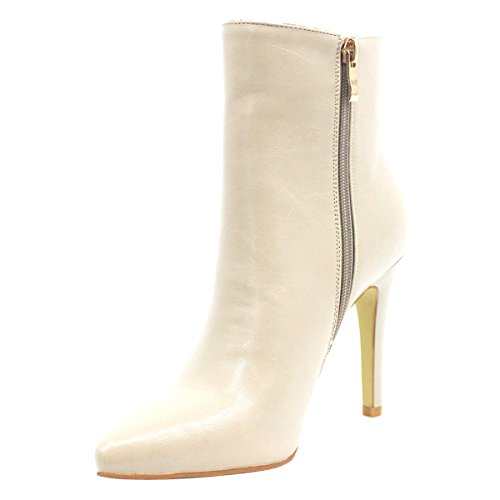 Womens Automne ZAPROMA Hiver Stiletto Talons Cheville Pointu Beige Bottes Chaud Chaussures Bout ZTnAdwq