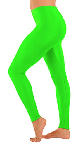 Full Body Spiderman Costumes (Marvoll Women's Lycra Spandex Footless Leggings (Small, Lime Green))