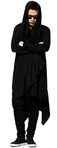 Pizoff Mens Oversize Hip Hop Extra Long Coat Jacket Hoodie Dress Y1128-S (Extra Coat Long)