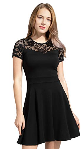 Sylvestidoso Women's A-Line Pleated Short Sleeve Little Cocktail Party Dress with Floral Lace (M, Black)
