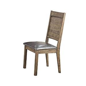 ACME Furniture Acme Ramona Side Chair, Silver PU & Rustic Oak (Set of 2)