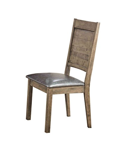 ACME Furniture Acme 72002 Ramona Side Chair, Silver PU Rustic Oak Set of 2