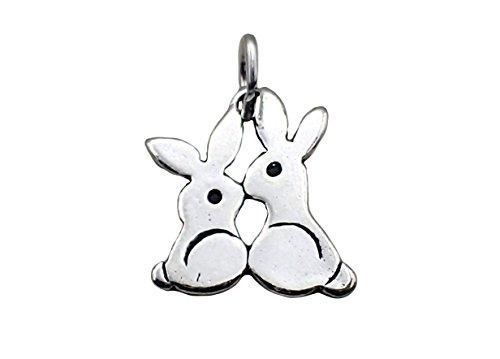 Corinna-Maria 925 Sterling Silver Kissing Rabbits Bunny Charm (Sterling Charm Bunny Silver Rabbit)