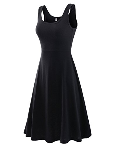NEARKIN (NKNKWMD735 Womens Figure-Hugging U-Neck Solid-Color Sleeveless Dress Black US XS(Tag Size S)