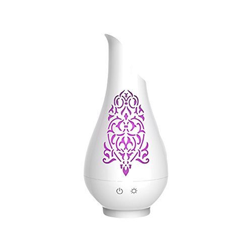 Soicare Ultrasonic Aroma Vase Diffuser with 7 Colorful LED Lights, Aromatherapy Essential Oil Diffuser, Cool Mist Humidifiers with Auto-Shut-Off, for Home, Yoga, Office, Spa, Bedroom, Baby Room