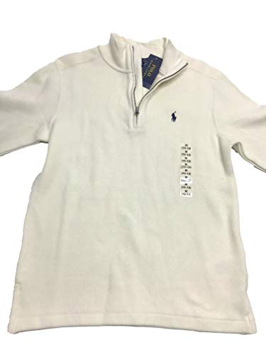 Ralph Lauren Half-Zip Cotton Pullover, Big Boys Chic Cream (Large) -