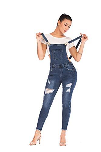 POPTIME Denim Jean Jumpsuit for Women Jeans Jumpsuits for Women (Medium, Dark - Skinny Overalls