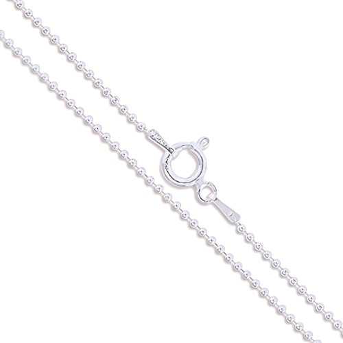 Sterling Silver Ball Bead Chain 1.2mm 925 New Dog Tag Necklace 24