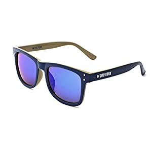 Zoo York Men's Rectangular Sunglasses, Blue with Grey Interior Frame, Smoke Blue Mirror Lens, 52mm
