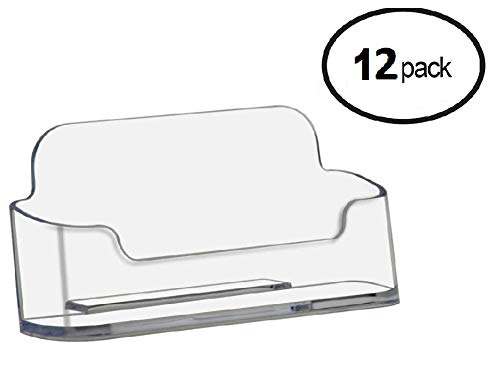 T'z Tagz Brand 12 Pack - Plastic Desktop Business Card Holder Display (Style B 12 Pack, Clear) ()