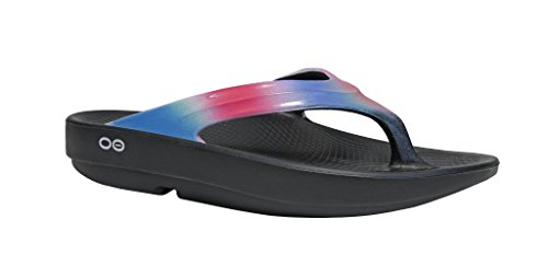 OOFOS - Women's OOlala Satin - Post Run Sports Recovery Thong Sandal - Black/Aurora - (Ladies Womens Sport Thong Sandals)