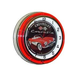 Chevrolet Corvette, Neon Clock, Bright Double 18 inch Neon