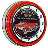 Chevrolet Corvette, Neon Clock, Bright Double 18 inch Neon