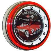 Chevrolet Corvette, Neon Clock, Bright Double 18 inch Neon by Telstar Neon